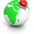 Green earth globe with red alarm button — Stock Photo #46329389