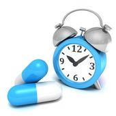Alarm clock and    pills — Foto de Stock