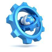 Blue earth globe with big gears around — Stock Photo