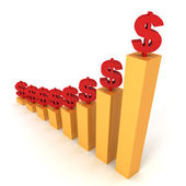 Raising dollar financial bar chart — Stock Photo