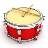 Red drum and drumsticks — Stock Photo