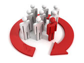 Group of 3d people with leader — Stock Photo