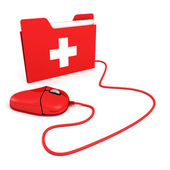 Red PC mouse with first aid help folder — Stockfoto