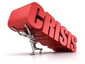 3d man pinned  with  CRISIS word — Stock Photo