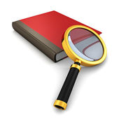 Red book with magnifying glass — Stock Photo