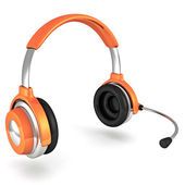 Orange headphones — Stock Photo