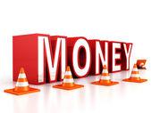 Red money text — Stock Photo