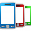 Set of colorful touchscreen smartphones — Stock Photo