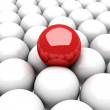 Red ball leader on many white balls — Stock Photo #46331463