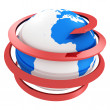 3d blue globe with spiral red arrow — Stock Photo #46331671