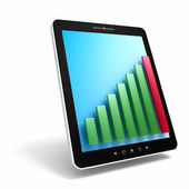 Black tablet pc with   bar graph — Stock Photo