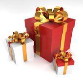 Rote und weiße geschenkboxen — Stockfoto