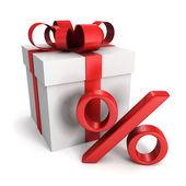 Rode geschenkdoos met gouden procentteken — Stockfoto