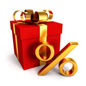 Red gift box with golden percent sign — Stock Photo