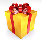 Golden present gift box — Stock Photo