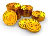 Group of gold usa dollar coins stacks — Stock Photo
