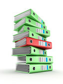 Pile of green office ring binders — Stock Photo