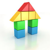 House of the plastic block pieces — Stock Photo