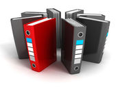 Red selected different file ring binder — Stock Photo