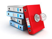 Red ring binder folder locked with key — Stock Photo