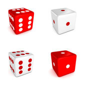 Set of red and white game dices — Stock Photo