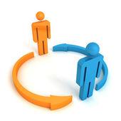 Dwa pojęcia zespołu ludzi biznesu z cyklu strzałki — Zdjęcie stockowe