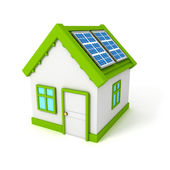 House with solar battery panels on the roof — Stock Photo