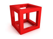 Abstract red 3d cube with shadow — Stock Photo