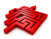 Red arrow labyrinth — Stock Photo