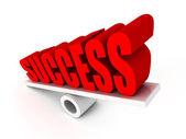 Red SUCCESS word on balance — Stock Photo