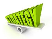 Koncepcja strategii słowo symbol równowagi — Zdjęcie stockowe