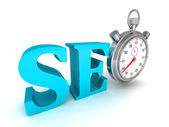 Seo blue word and stopwatch — Stock Photo