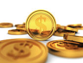 Many golden dollar currency coins — Stok fotoğraf
