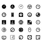 Vector Black Clocks Icon Set — ストックベクタ