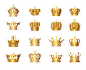 Set of royal golden crowns collection — Stock Vector