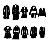 Vector Women's Clothes Icons Set Jacket Overcoat — Stock Vector