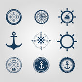 Set of nautical labels icons logo symbol and design elements vector — Stock Vector
