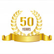 Golden 50 Years Anniversary With Laurel Wreath Ribbon — Stock Vector