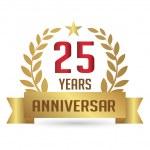 Golden Anniversary 25 Years. Number 25 With Laurel Wreath — Stock Vector #49350825