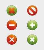 Approved and Rejected Cancel Button False and Right Icon Set — Stock Vector