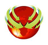 Earth with Arrow Circle Around — Stock Vector