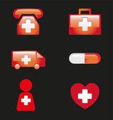 Icone mediche vettoriale illustrazione — Vettoriale Stock