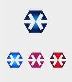 Hexagons logo with arrow icon — Stock Vector