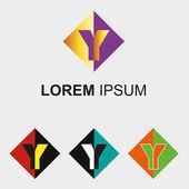 Logo di rombo con segno simbolo di lettera y — Vettoriale Stock