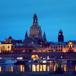 Dresden view from Elbe river by night — Stock Photo #45908213