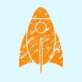 Stylized grunge rocket on a light background. — Stockvector