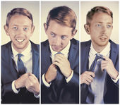 3 picture collage of an attractive young businessman with light hair and blue eyes wearing a suit and a tie. — Photo