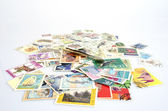 Backdrop of old postage stamps — Foto de Stock