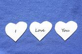Valentine text hearts — Stock Photo