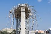 Demolition of an urban bridge — Stock Photo